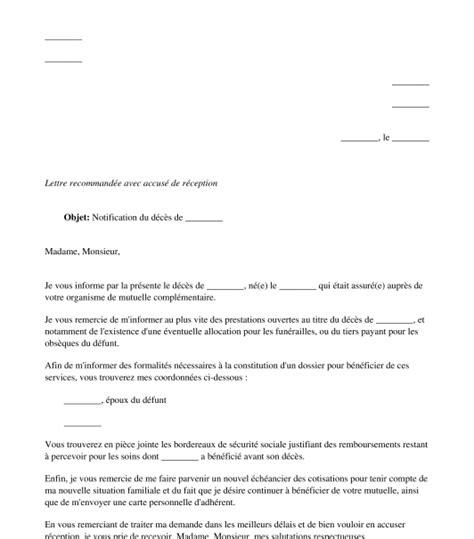 Modele Lettre Resiliation Mutuelle Pdf Lettre De Notification De D 233 C 232 S 224 La Mutuelle Compl 233 Mentaire Du D 233 Funt