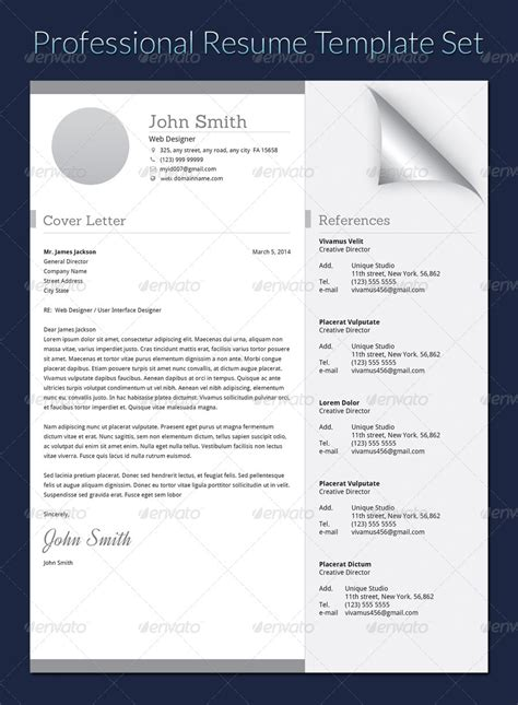 professional resume template set by khatrijiya graphicriver