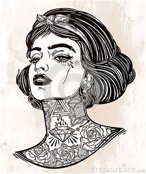 tattoo girl vector adult coloring vector of young tattooed girl stock vector