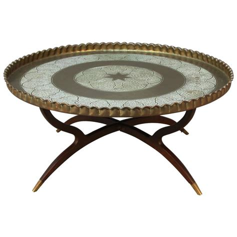 Large Tray For Coffee Table Large Vintage Brass Tray Coffee Table On Midcentury Folding Spider Base For Sale At 1stdibs