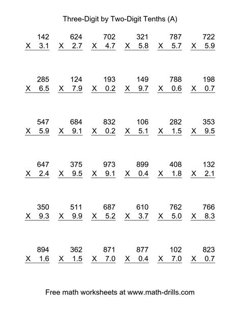 printable math worksheets with decimals multiplying decimals worksheets math drills simplifying