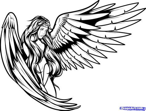 cool angel tattoo design in cool drawings guardian drawing at