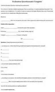 evaluation questionnaire template questionnaire template evaluation format of evaluation