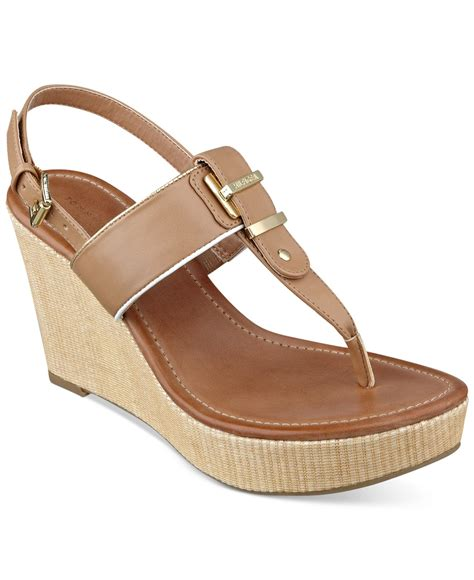 hilfiger wedge sandals hilfiger maree platform wedge sandals in brown