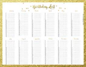 printable birthday chart template free birthday list template customize then print