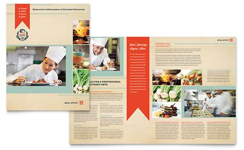 school brochure templates culinary school brochure template design