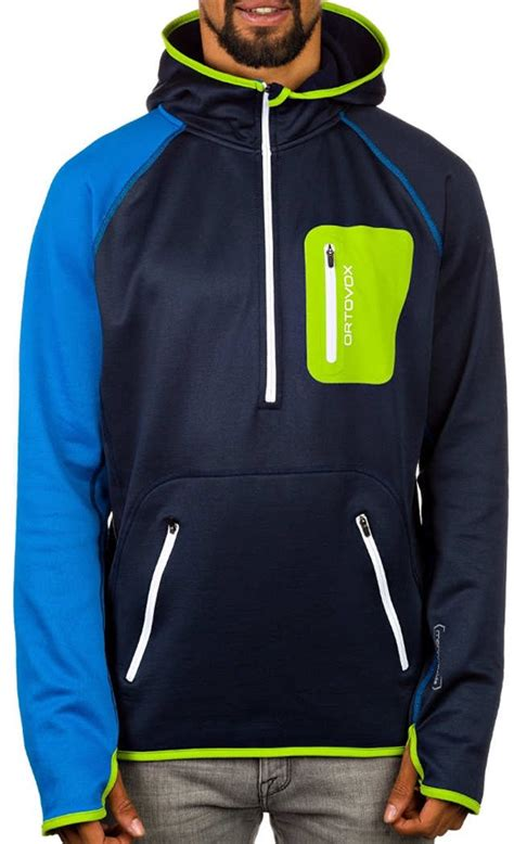 Fleecy Sweater 65ribu ortovox zip neck hoody mi technical merino fleece l strong blue