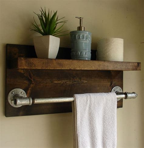 bathroom shelf and towel bar industrial rustic modern bathroom shelf with 18 quot towel bar