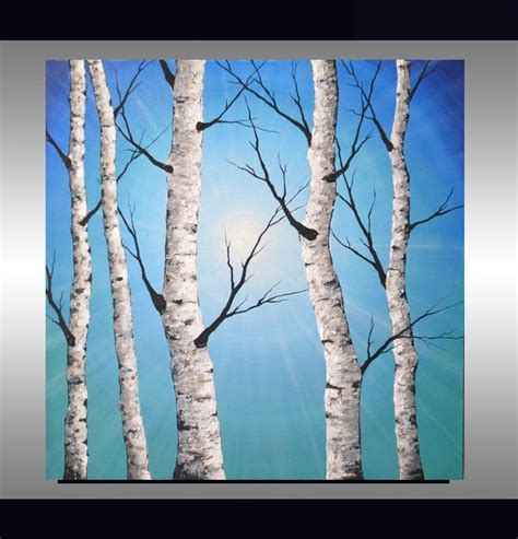 modern home decor abstract tree painting birch trees white birch tree on soft blue landscape trending interior