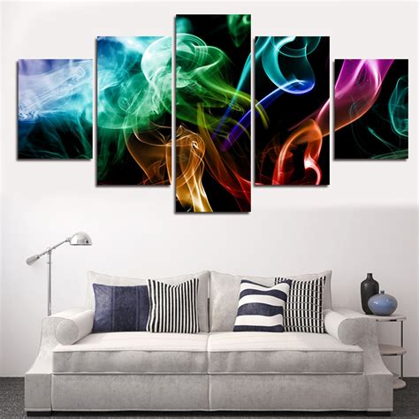 modern home decor hd prints oil painting on canvas white 2016 new 5 piece picture sell abstract colorful modern