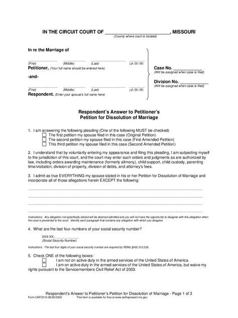 Free Divorce Records Missouri Missouri Divorce Forms Free Templates In Pdf Word