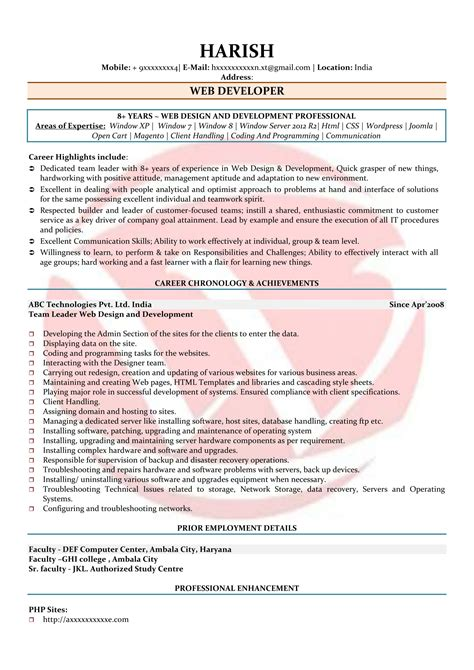 web developer resume format pdf web developer sle resumes resume format templates