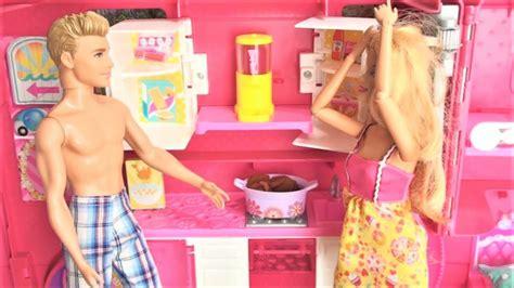 barbie and ken in bathroom barbie cer van barbie and ken cing trip pink kitchen