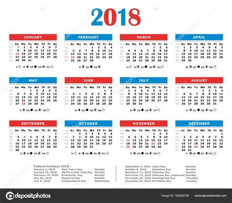 Calendã Semanas 2018 Calendario A 241 O 2018 Colores Americano D 237 As Feriados