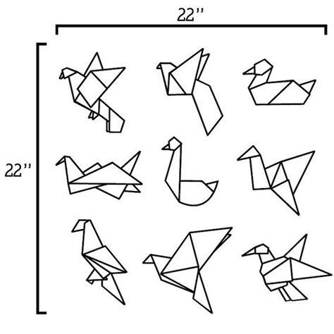 Dessin Oiseau Origami by Origami Birds Vinyl Wall Decal Vinyles Oiseaux Et