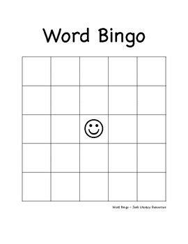 bingo card templates word word bingo template elementary intermediate by jen s