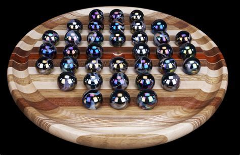 Game Boards: 16 Inch Round Hardwood Marble Solitaire Game