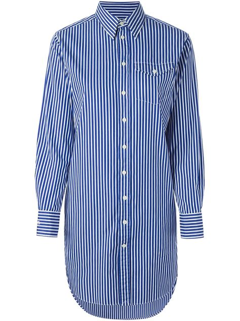 Striped Shirt Dress polo ralph striped shirt dress in blue white lyst