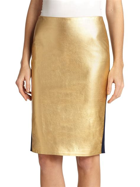 ralph collection metallic leather pencil skirt