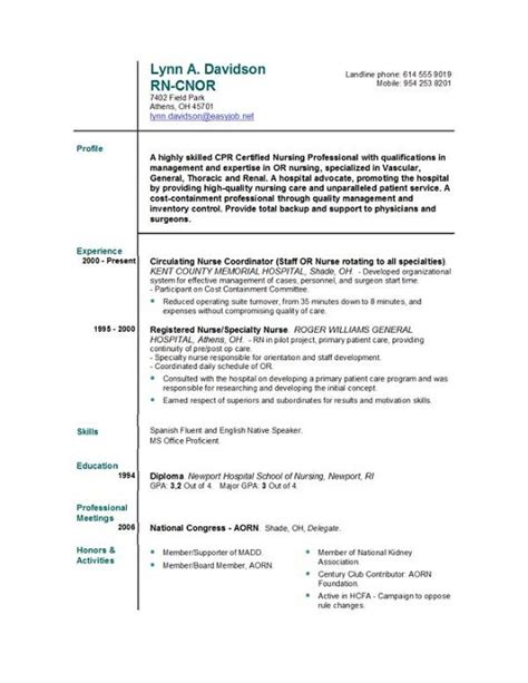 free nursing resume templates sle resume august 2015