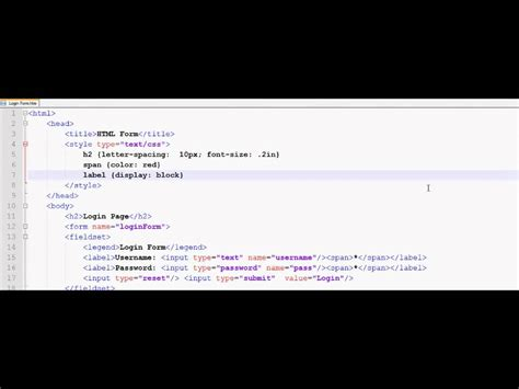 tutorial css login form html tutorial 33 html login form and css youtube