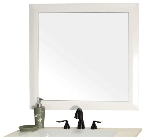 White Mirror For Bathroom Solid Wood Frame Mirror White Modern Bathroom Mirrors By Corbel Universe