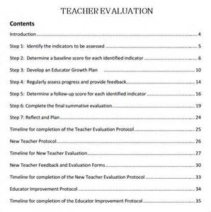 evaluation of teachers performance template sle evaluation 8 documents in word pdf
