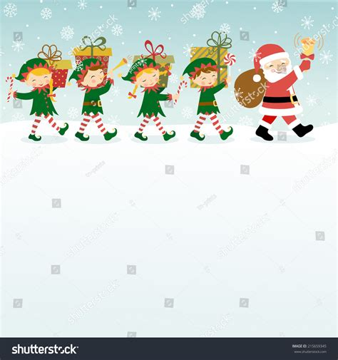 Can I Get A Copy Of My Background Check Background With Santa Claus Elves And Copy Space Stock Vector Illustration
