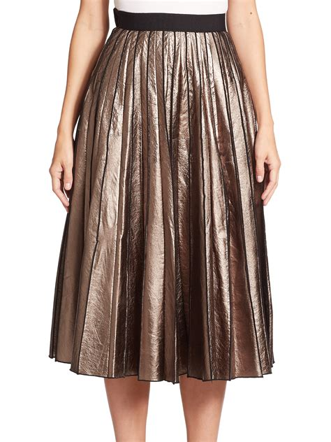marc metallic leather pleated skirt in brown gold