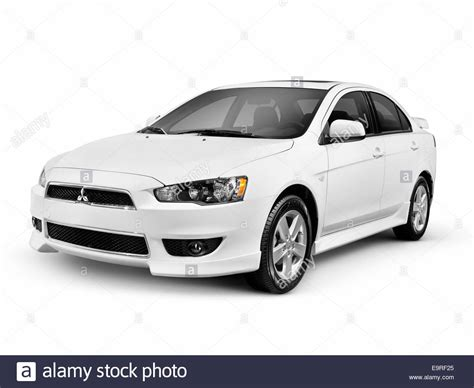 White 2014 Mitsubishi Lancer Compact Car Isolated On White