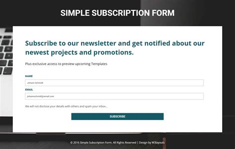 subscription form template simple subscription form a flat responsive widget template