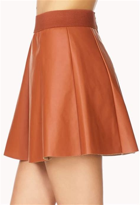 forever 21 edgy faux leather skater skirt in brown rust