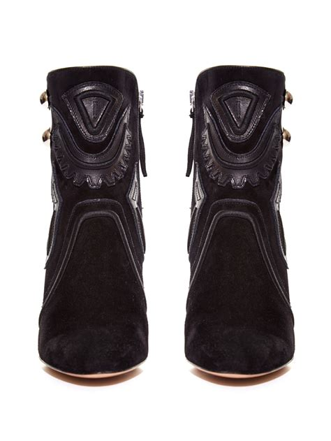 marant rick suede and leather ankle boots in black