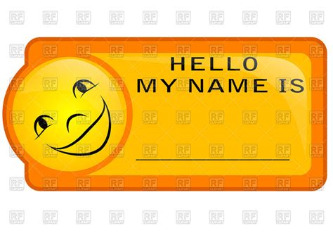 name tag design clipart orange name tag with smiley royalty free vector clip art