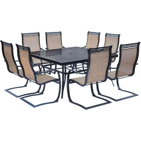 9 dining table square hanover monaco 9 aluminum outdoor dining set with