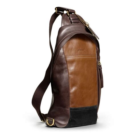 Coach Sling Backpack 2 coach bleecker convertible sling pack in colorblock leather in brown for lyst