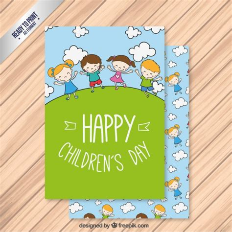 cards with children green children day card vector free