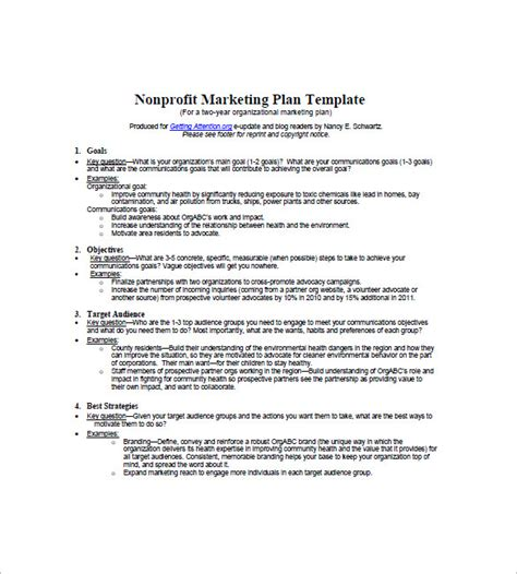 writing a marketing plan template non profit marketing plan template 10 free word excel