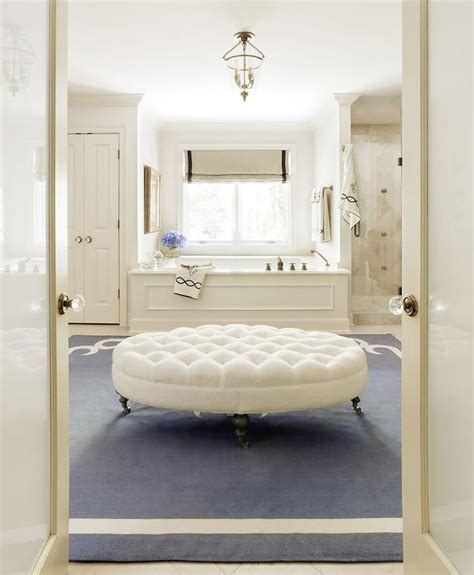 bathroom ottoman ivory and blue bathroom with white oval tufted ottoman on