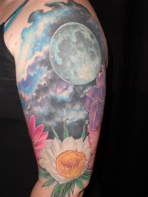 flowers moon and night sky tattoo by graydon payne