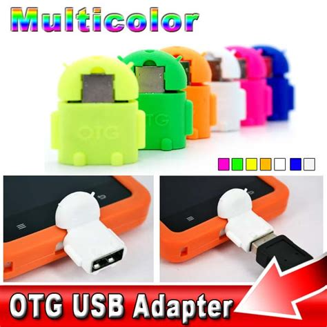 Otg Android Robot Usb On The Go For Smartphone Tab 6pcs set multi color option robot shape android micro usb to usb 2 0 converter otg adapter for