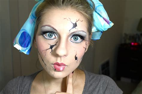 tutorial makeup halloween doll cracked doll halloween makeup youtube