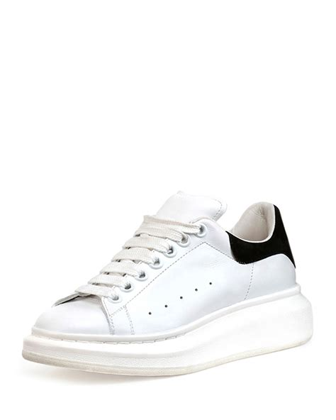 mcqueen sneakers womens mcqueen leather flatform sneakers in white lyst