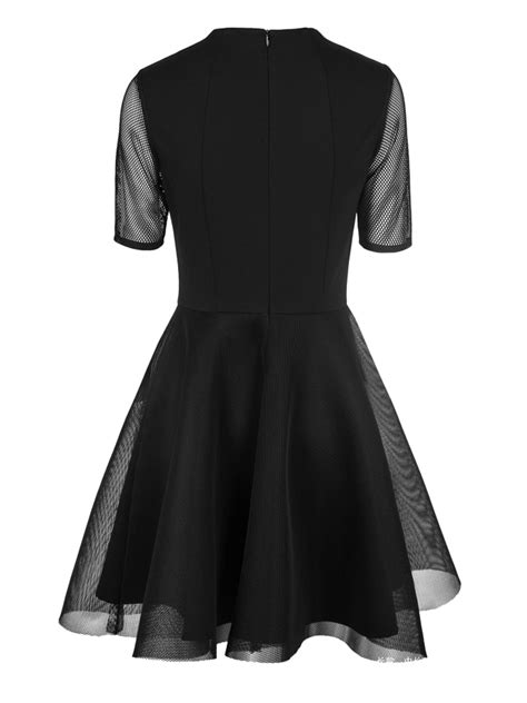Lace Panel 3 4 Sleeve A Line Dress available black sheer mesh panel layer sleeve a line
