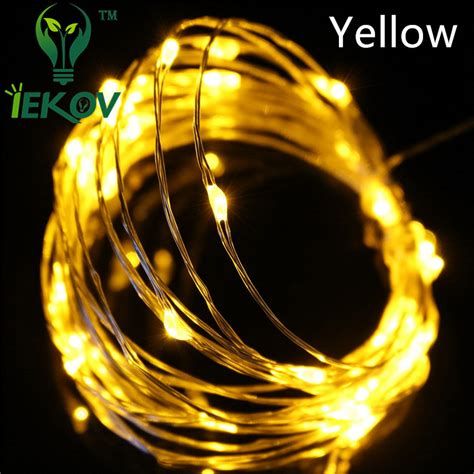 1pcs 5m Yellow 16 5ft 50 Leds Silver Wire String Lights Yellow String Lights