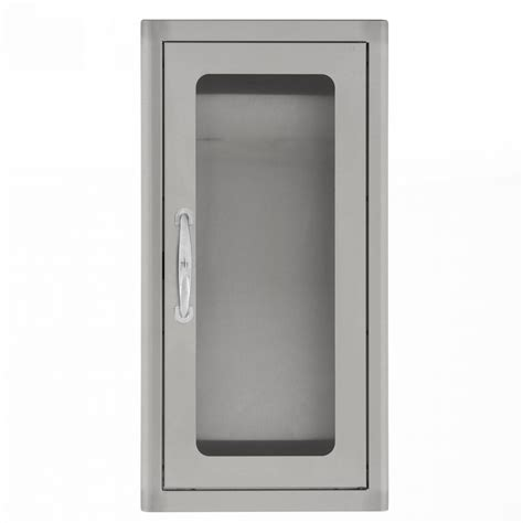semi recessed fire extinguisher cabinet stainless steel bbqguys 14 inch stainless steel semi recessed 10 lb
