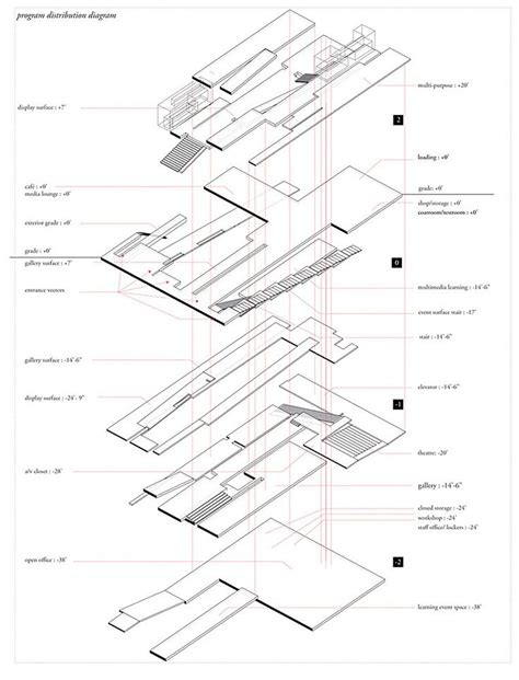 exploded floor plan exploded circulation and floor plate axonometric architecture concept diagram pinterest