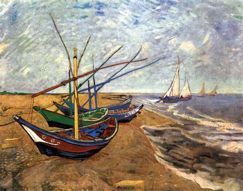 fishing boat on the beach fishing boats on the beach at saintes maries by gogh