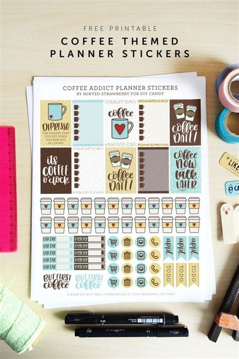 coffee planner stickers printable free printable coffee themed planner stickers