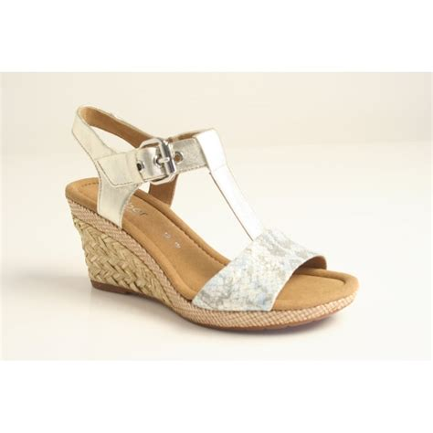 Wedges Keren Wedges 1 gabor gabor style quot quot gold metallic leather t bar wedge with a silver buckle and platted